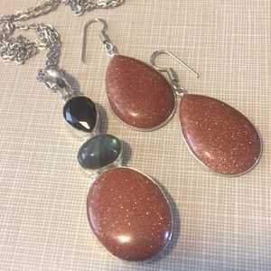 Jewelry - Sparkly beautiful Sun Sitara Onyx Labradorite Set